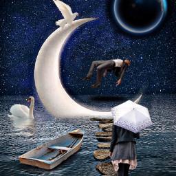 freetoedit moon surrealism woman umbrella boat water birds planet night rocks
