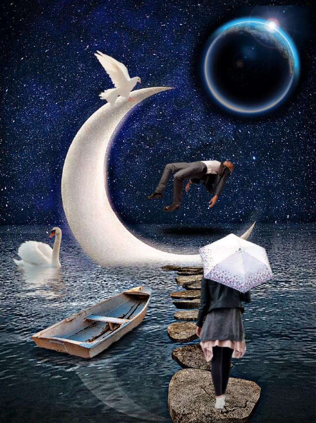 #freetoedit #moon #surrealism #woman #umbrella #boat #water #birds #planet #night #rocks