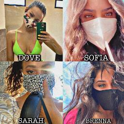 descendants descendantscast withamask coronavirus quarantine mask everythingwillbeokay dovecameron sofiacarson sarahjeffery brennadamico girls freetoedit
