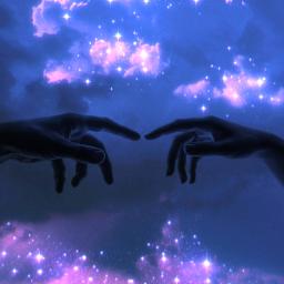 freetoeditinstagram freetoedit sky aesthetic hand hands blue stars nubes glitter glow shine