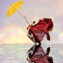yellowumbrella reflection waterreflection reddress freetoedit srcyellowumbrella