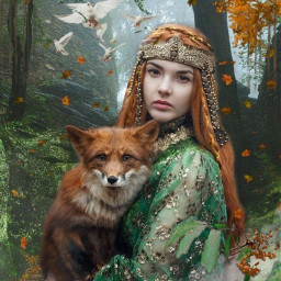 freetoedit fantasy woman princess fox forest beautyofnature beautyallaround madewithpicsart myimagination myedit