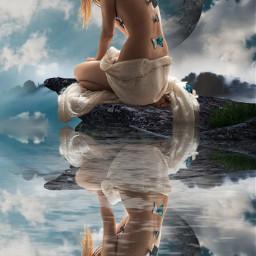 freetoedit fantasy surrealistic woman butterflies lake reflection faraway beautyofnature beautyallaround madewithpicsart myimagination myedit