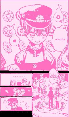 hanako hanakokun mangapanels manga anime tbhk toiletboundhanakokun monochrome pink pastel pastelpink cute kawaii donuts freetoedit