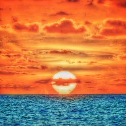 freetoedit remixit madewithpicsart sea sunset water ocean sun sky clouds horizon orange teal blue nature colourful calm relaxing peaceful