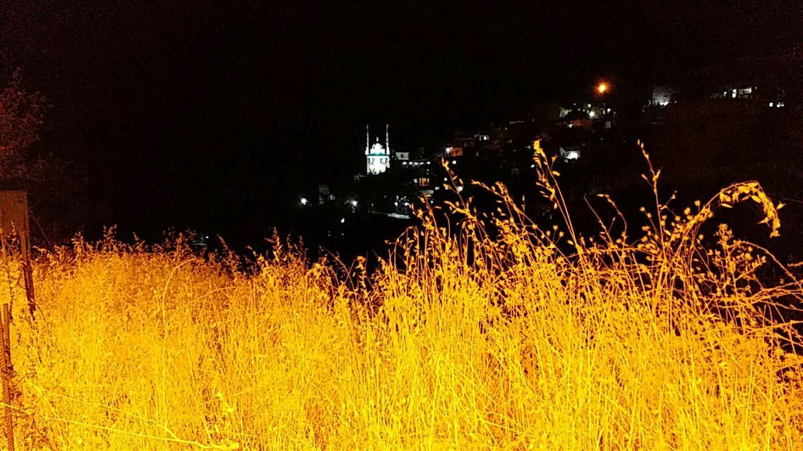 #freetoedit #autumn #nightsky #night #nature #yellow #mosque #vegetation #herbage