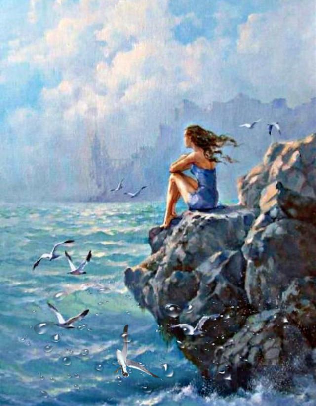 #girl#sea#cliff#splash#seaguls#clouds#waves#rocky#curlyhair#sit