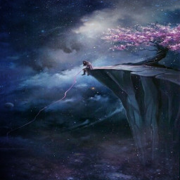 girl cliff cool sparkles galaxy blossons cloudy dark