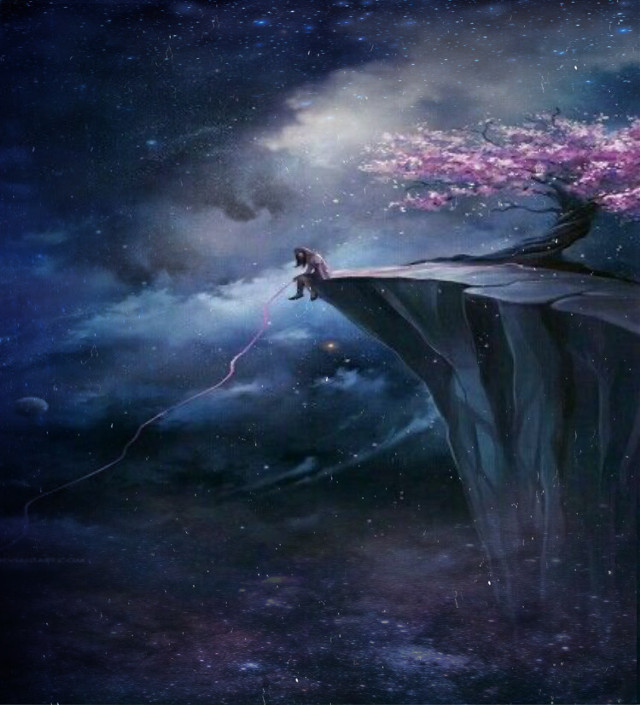 #girl#cliff#cool#sparkles#galaxy#blossons#cloudy#dark