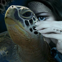 freetoedit myanimalalterego animal seaturtle turtle bubbles woman hand oceansoul imagination myimagination stayinspired create creativity madewithpicsart