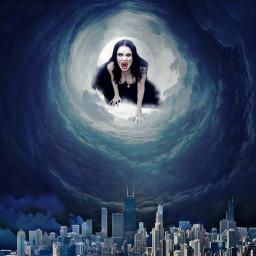 darkwoman darkcity monocromatico monocromatic fantasyart nebulosa vampirewoman vampire freetoedit