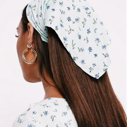 aesthetic asthetic bandana headscarf scarf flowers earrings earring hoops vsco
