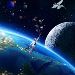 flying universe moon world space manflying fantasyart allpicsart picsartstickers spaceworld freetoedit