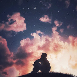 picsart freetoedit remixit sunset sunrise sun clouds glow sky stars night moody dark light color background view png silhouette nighttime
