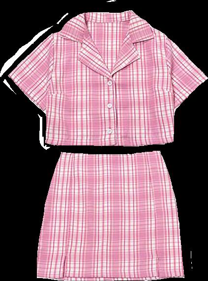 #pink #skirt #shirt #aesthetic #sticker #alt #plaidskirt #plaidshirt #cutie  #clothes