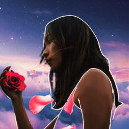 freetoedit girl flower purple sky