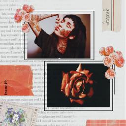 freetoedit paper vintage retro aesthetic photo photography collage kolaż words red czerwony white biały black czarny flowers kwiaty flower girl dziewczyna face twarz art ecfloralface floralface