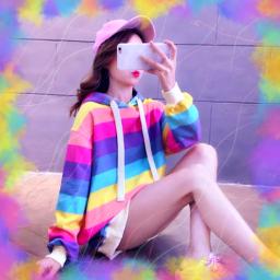 moldura photo foto edicao edit girl pastel colors cute kawaii rainbow freetoedit