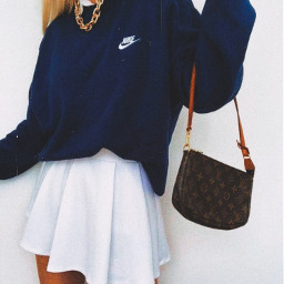 nike tennis skirt chain gold necklace louisvuitton louisvitton sweatshirt sweats coller aesthetic tan blonde asthetic outfit clothes inspo purse pretty girl happy