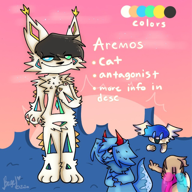 AREMOS REF AREMOS REF  YEAH hes a villian in my story 'The End Of Times' (the story where noname takes place in) where he tries to just,,, take over the universe like every other villian in the story lmao. Basically hes this controller of this diamond in his stomach hole thing, which the diamond is basically the opposite of Katie's diamond on her necklace (katie is another character i need to post, she'll come soon she plays a hella big role in the story lol) where instead of it protecting the universe, it destroys it slowly if it has enough power contained in it. he gets that power by manipulating people and getting negative energy. Mooncake (the little blue and teal gradient hair dude) is aremos's best friend and mooncake is pretty much obsessed with him but really aremos is just using him sadly. mooncake is too innocent and naive to realize it. Noname has tried to save MC from Aremos but she fails each time. CookieCrumbs (blue dragon dog, his ref is being posted right after this one) is also Aremos's best friend, where they try to make everyone miserable. makes sense they're friends considering the both hurt noname in the past.  ©️bagelcant_draw 2020   Tags: #digitalart #art #furry #antro #oc #theendoftimes #aremos #noname #cookiecrumbs #mooncake #referencesheet #bagelcant_draw #bc_d #october #2020