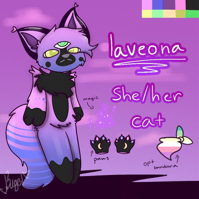 LAVEONA REF LAVEONA REF MY GAL  Laveona is a cat that lives up in the misty purple mountains on orchid island. She makes potions and practices magic in her house/cave. She aspires to be a witch someday,, she can also travel to dimensions that nobody has gone before, dimensions nobody is supposed to travel to except katie.  She is cookiecrumbs's crush, but she tries to ignore his lovey comments. Though, she would be okay with being with him.  Laveona is one of the Chosens along with Katie, Noname, Cookiecrumbs, and mixyn (giraffe dude) and has met Katie before in Katie's own dimension where katie watches over the entire universe. Katie had to send Laveona back considering nobody is allowed to see katie yet. Not even the chosens yet. The only people who have seen katie is Noname, Kaylee, Max, Burrito, Ori, and Tom. Theres hella lore to this that needs to be explained to get the full plot but. theres too much ill explain it later.  ©️bagelcant_draw 2020   Tags: #digitalart #art #oc #furry #anthro #laveona #referencesheet #bagelcant_draw #bc_d #october #2020