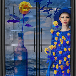 fillthefridge fridge woman bluedress hat flowers roses yellowroses bottle ocean clouds flyingbirds imagination myimagination stayinspired create creativity madewithpicsart freetoedit