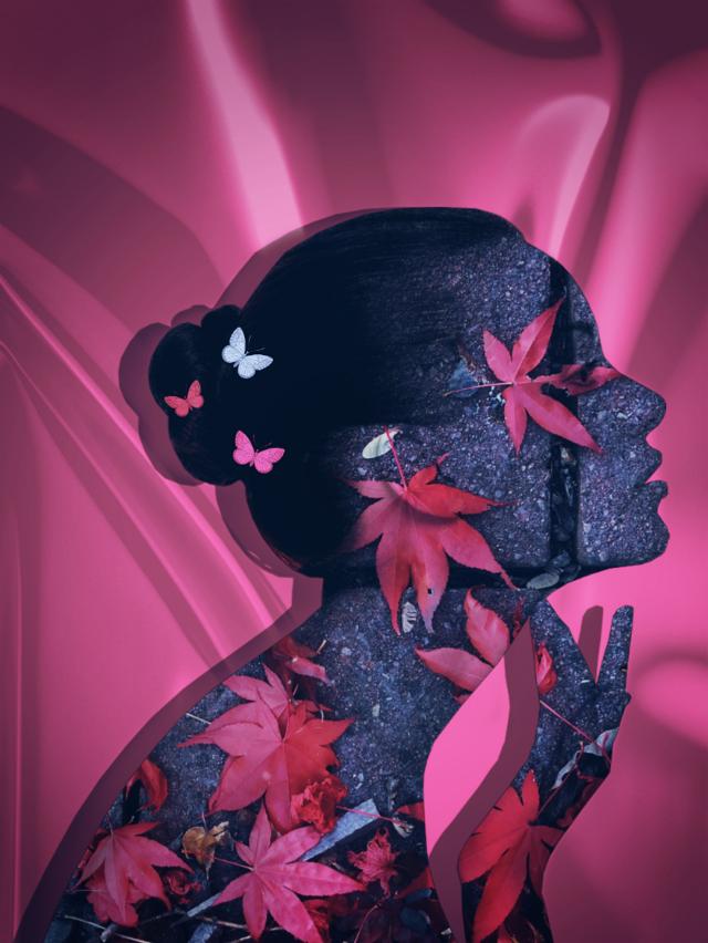 Have a nice weekend😊#doubleexposure #artisticportrait #pink #blending #photomanipulation #editedstepbystep #madewithpicsart #autumnleaves