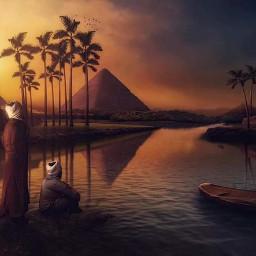man piramid egypt sunset freetoedit