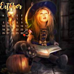freetoedit girl little cute witch srcoctobercalendar