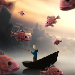 fisherman surrealist surrealism madewithpicsart madebyme editedbyme fauspre visualart fish myedit freetoedit