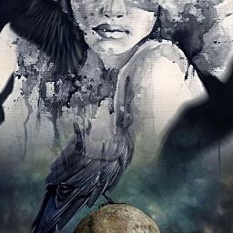 myedit halloween photolab creepy skull ravens beautifulwoman detail effects watercolor