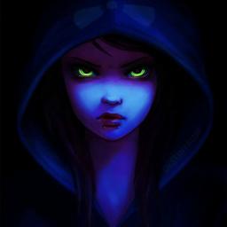 glowingeyes shadoweffect girl wickedgirl quietly evilgirl demoninside hoodedfigure