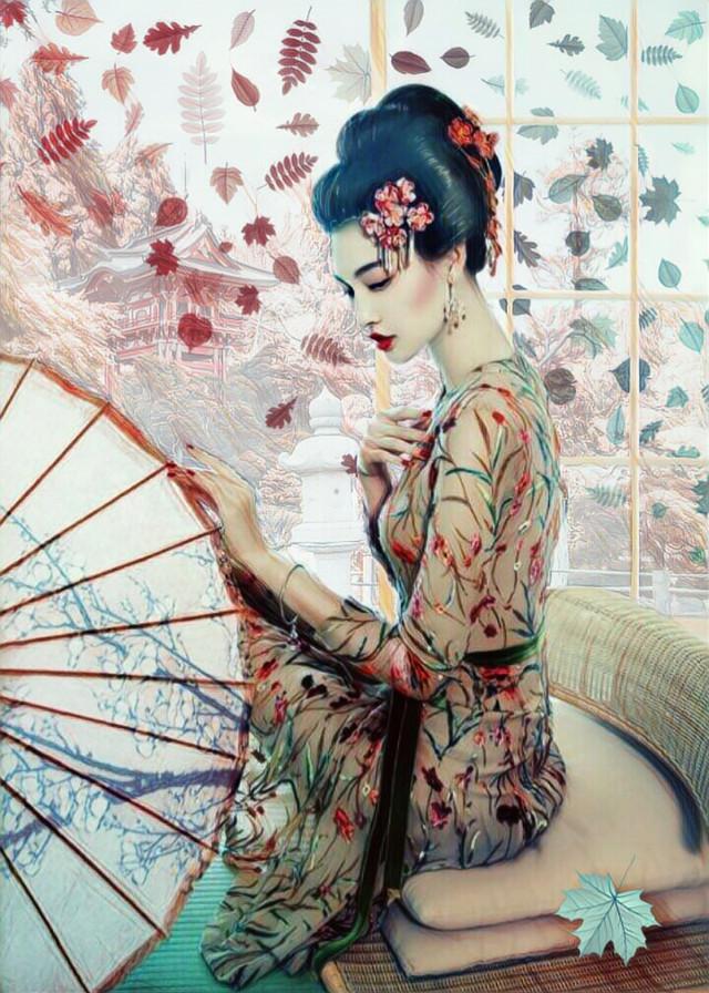 Japanese Garden #autumnleaves #leaves #woman #flowersinherhair #beautiful #sittingpretty #umbrella #screen #garden #imagination #myimagination #stayinspired #create #creativity #madewithpicsart
