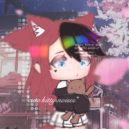 freetoedit cute cutegirl anime rainbowhair kitty kittyz kittyzedit gacha edit art aesthetic gachalife gachaclub gachalifeedit gachalifeedits gachagirl petals background animebackground cat