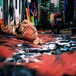 homeless alley street man photomanioulation lonely freetoedit