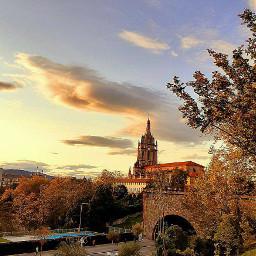 church sunset clouds autumn cityscape