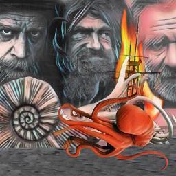 portraits men ship fire octopus ocean sea fxeffect madewithpicsart remixed freetoedit squid fantasy surreal photomanipulation