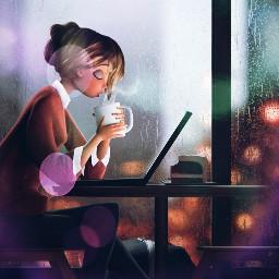 freetoedit girl coffe