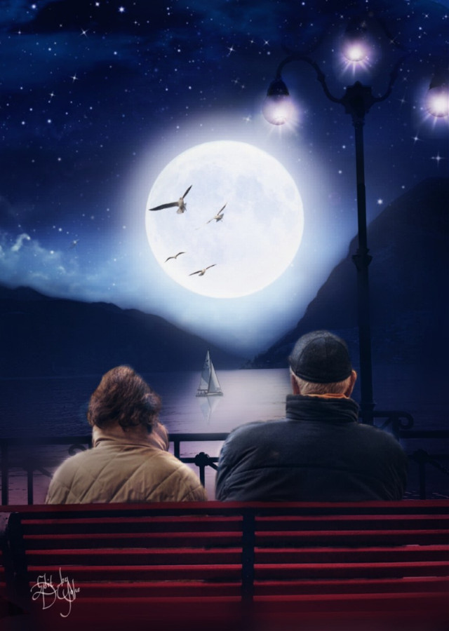 #Mastershoutout to @sharknstuff, check out this gallery!, #photoremix, #photoediting, #maskeffect,  #nightmoon,  #fullmoon, #boardwalk, #couple, #benchview, #seaside,  #sereneview
