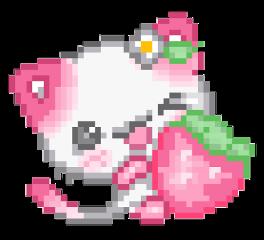 kawaii strawberry pixel freetoedit