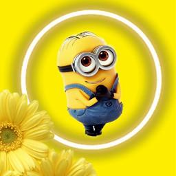 minion dispicableme minionlover yellow yellowaesthetic yellowflower freetoedit rcneonlight neonlight