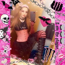 kawaii altfashion pink black pinkandblack monster monsterhigh monsterenergy aesthetic kawai creepycute creepy cute myspace chains replay demonias corset tiara kuromi sanrio hellokitty carebear kawaiigoth freetoedit