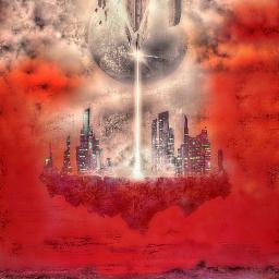 madewithpicsart remixit freetoedit destruction city floating sky clouds moon redsky loneliness solitude building architecture apocalypse annihilation
