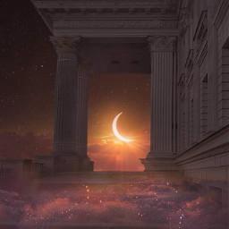 freetoedit moon sunset glitters sky