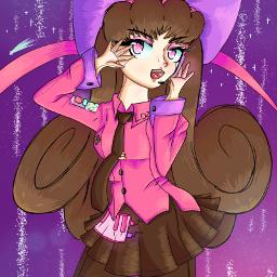 robot robotgirl pink brown night beatuful stars bow girly aesthetic liesel originalcharacter anime animegirl galaxy