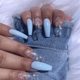 lydiasnails nails acrylicnails nailart bluenails