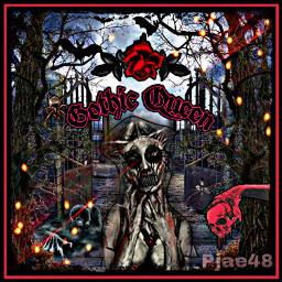 myedit myart picsart picsartedit picsartstickers gothic gothgirl skull cemetery flowers spiders spiderweb trees weeds freetoedit