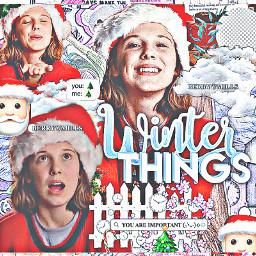 christmas happyholidays holidays winter strangerthings eleven milliebbrown milliebb mbb el milliebobbybrown milliechristmas berrycmills freetoedit
