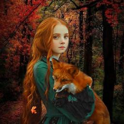 freetoedit girl fox forest leaves beautyofnature beautyallaround madewithpicsart myimagination nywdit