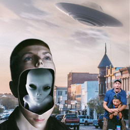 aliens aliensattack flyingsaucer ufo panic scare smalltown street